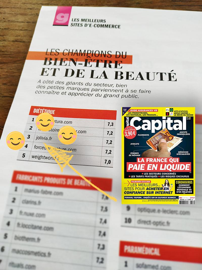 Jolivia, classé par parmi les meilleurs sites française dans la catégorie Santé Beauté en 2020 par Capital